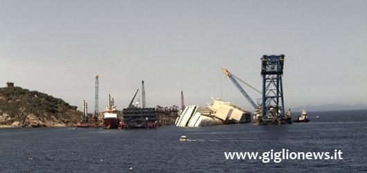 webcam isola del giglio lavori rimozione costa concordia parbuckling
