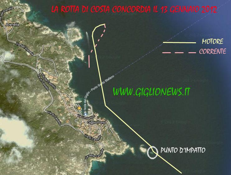 Traiettoria Costa Concordia Isola del Giglio GiglioNews