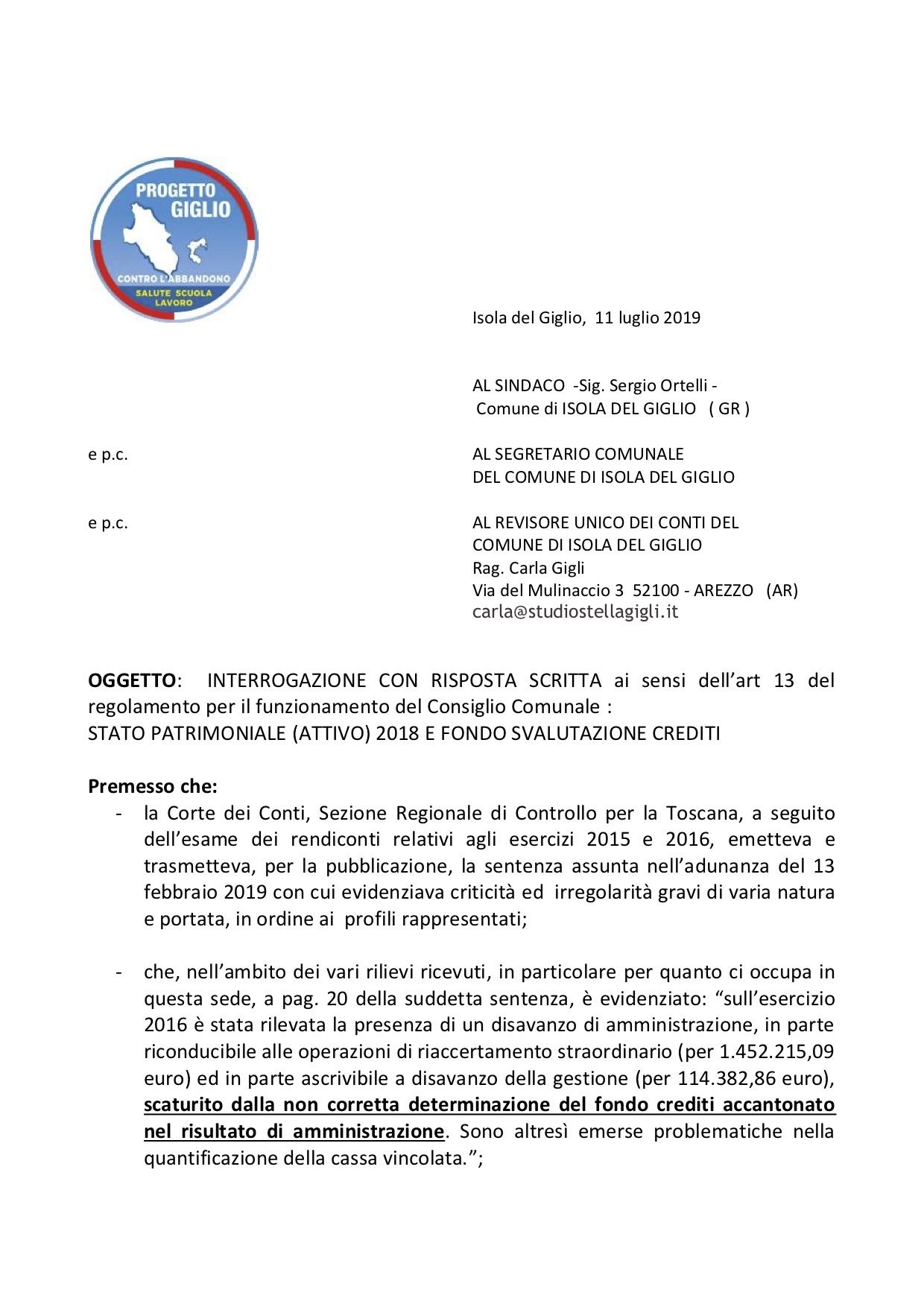 interrogazione minoranza stato patrimoniale sindaco comune isola del giglio giglionews