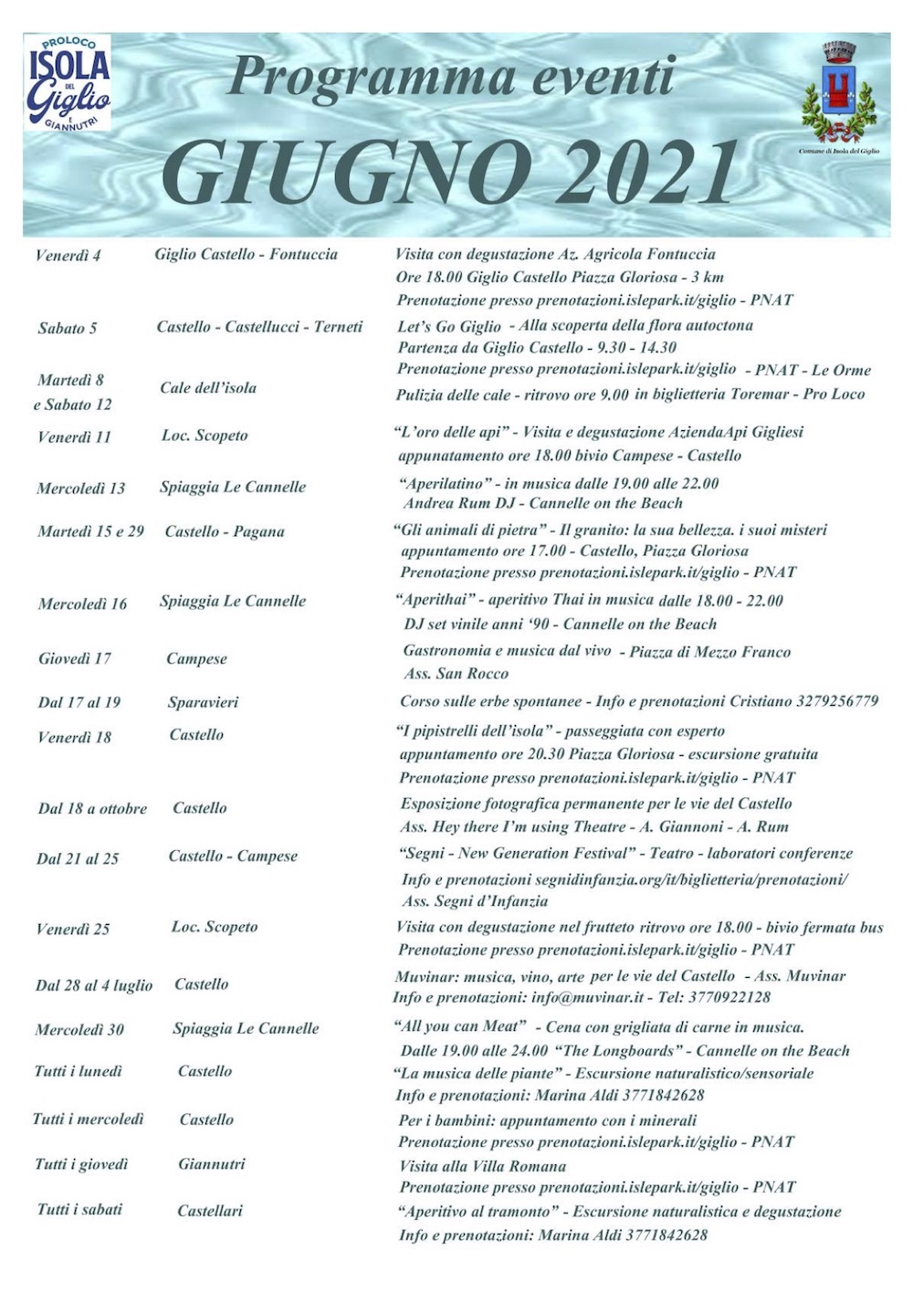 calendario eventi giugno 2021 pro loco isola del giglio giglionews