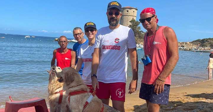 cani salvataggio spiaggia isola del giglio campese giglionews