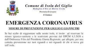 prevenzione avviso emergenza coronavirus comune isola del giglio giglionews