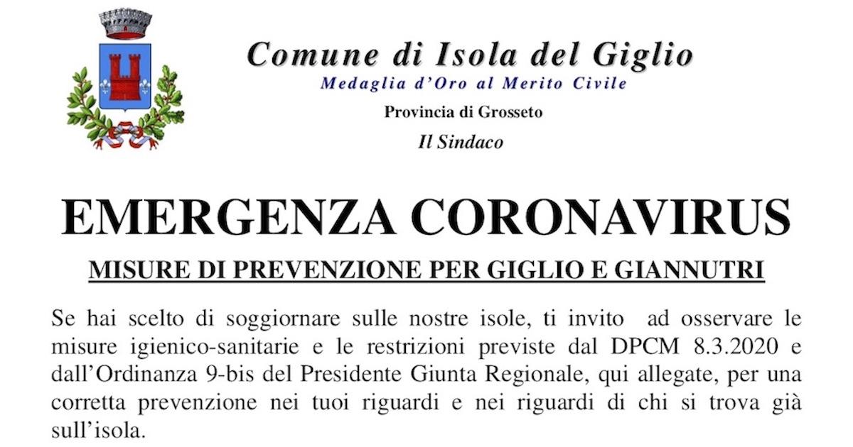 avviso emergenza coronavirus comune isola del giglio giglionews