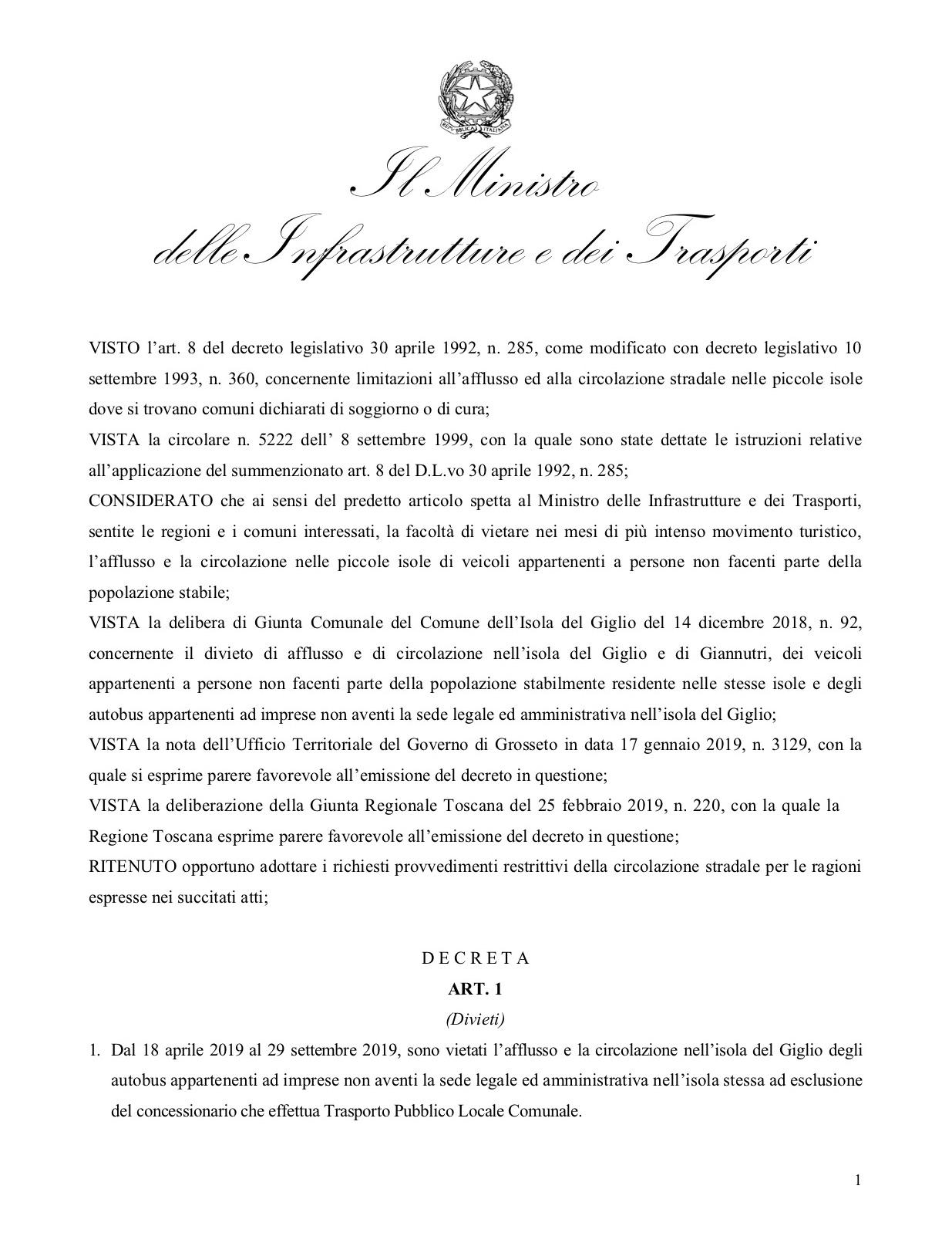 decreto limitazione sbarco comune isola del giglio giglionews