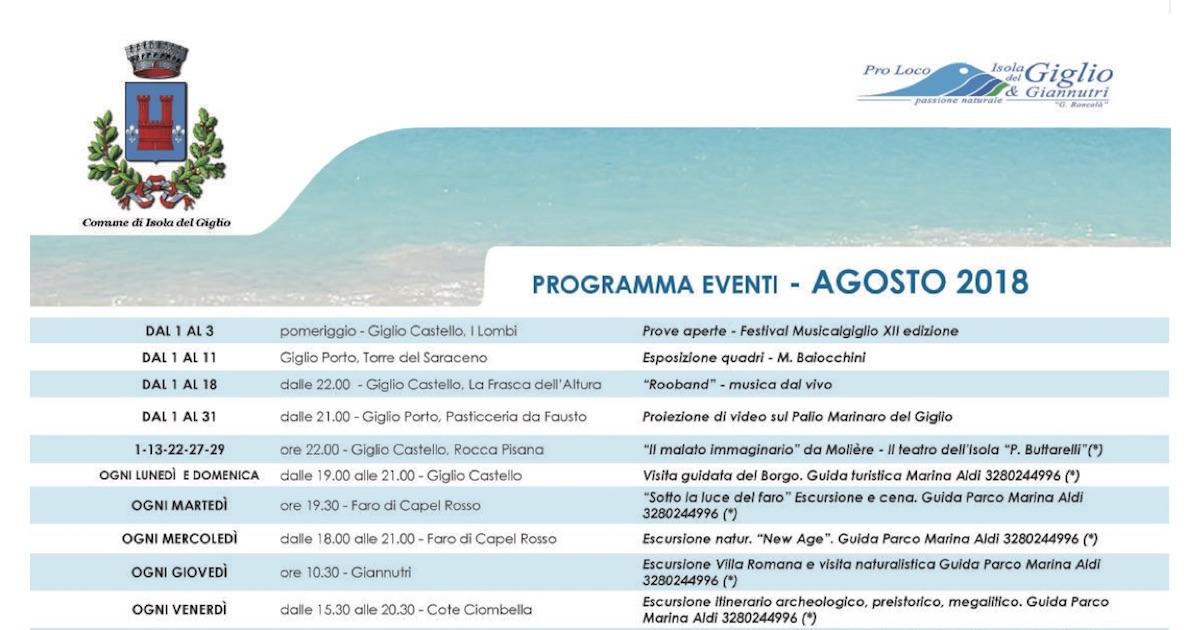 eventi agosto 2018 pro loco comune isola del giglio giglionews