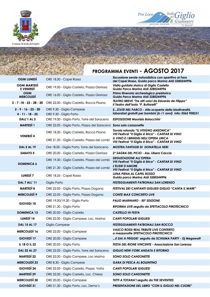 eventi agosto 2017 pro loco comune isola del giglio giglionews