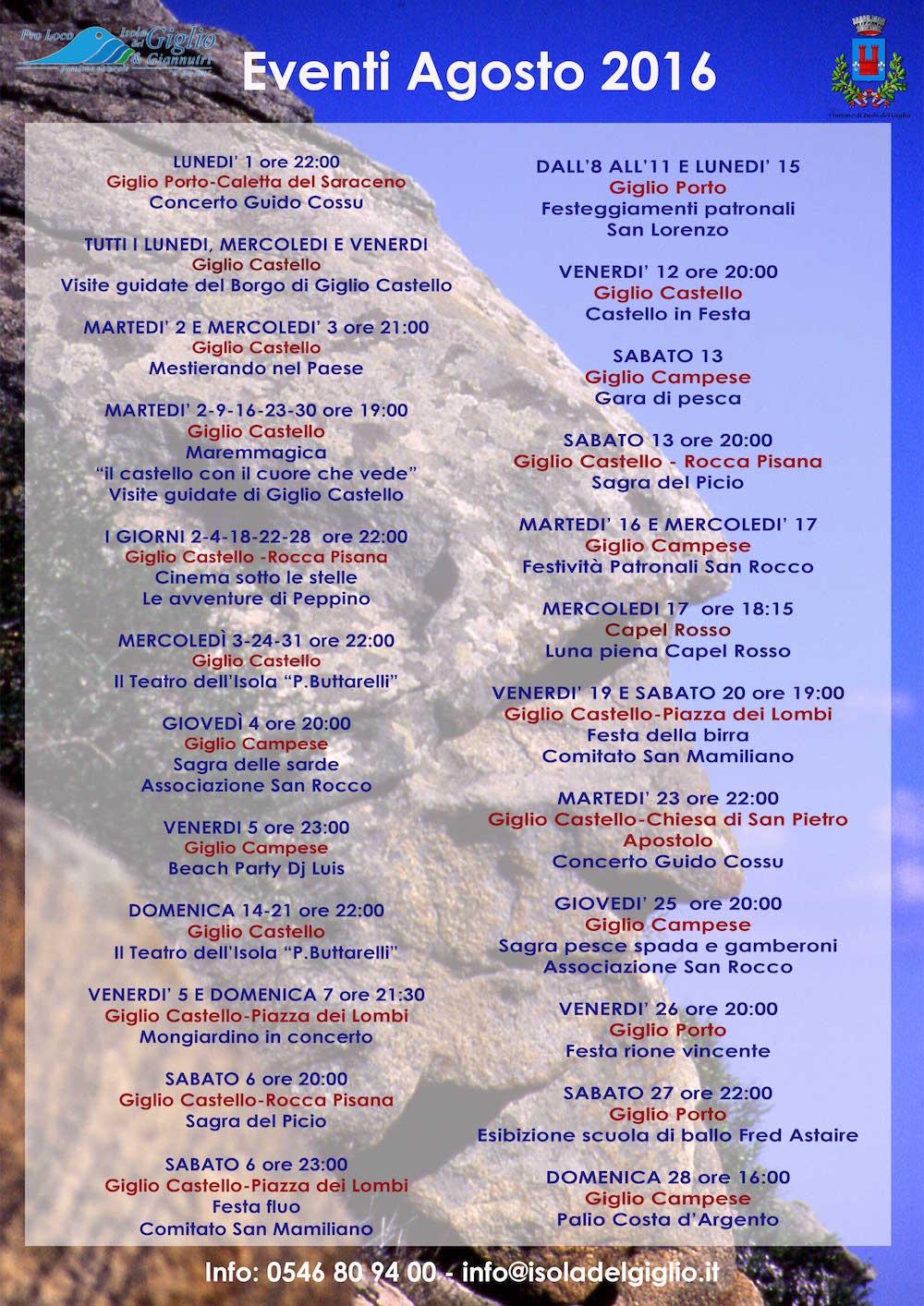 eventi agosto pro loco isola del giglio giglionews