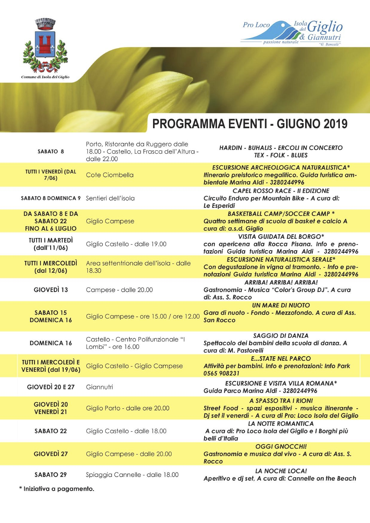 eventi giugno 2019 pro loco comune isola del giglio giglionews
