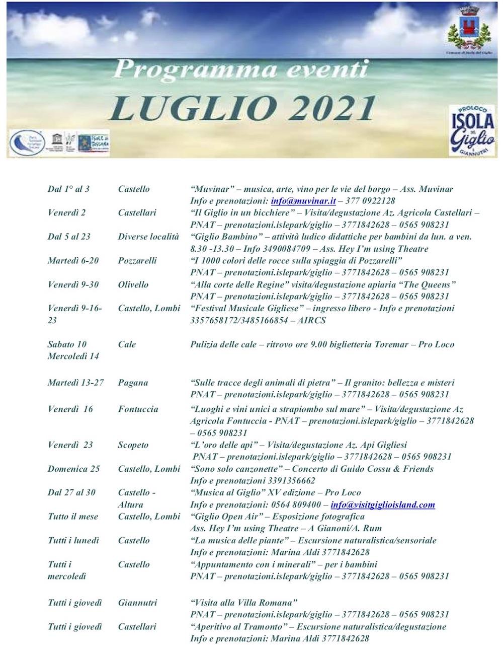 eventi luglio 2021 pro loco isola del giglio giglionews