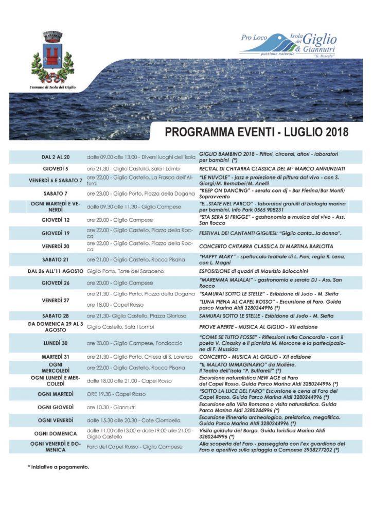 eventi luglio 2018 pro loco comune isola del giglio giglionews