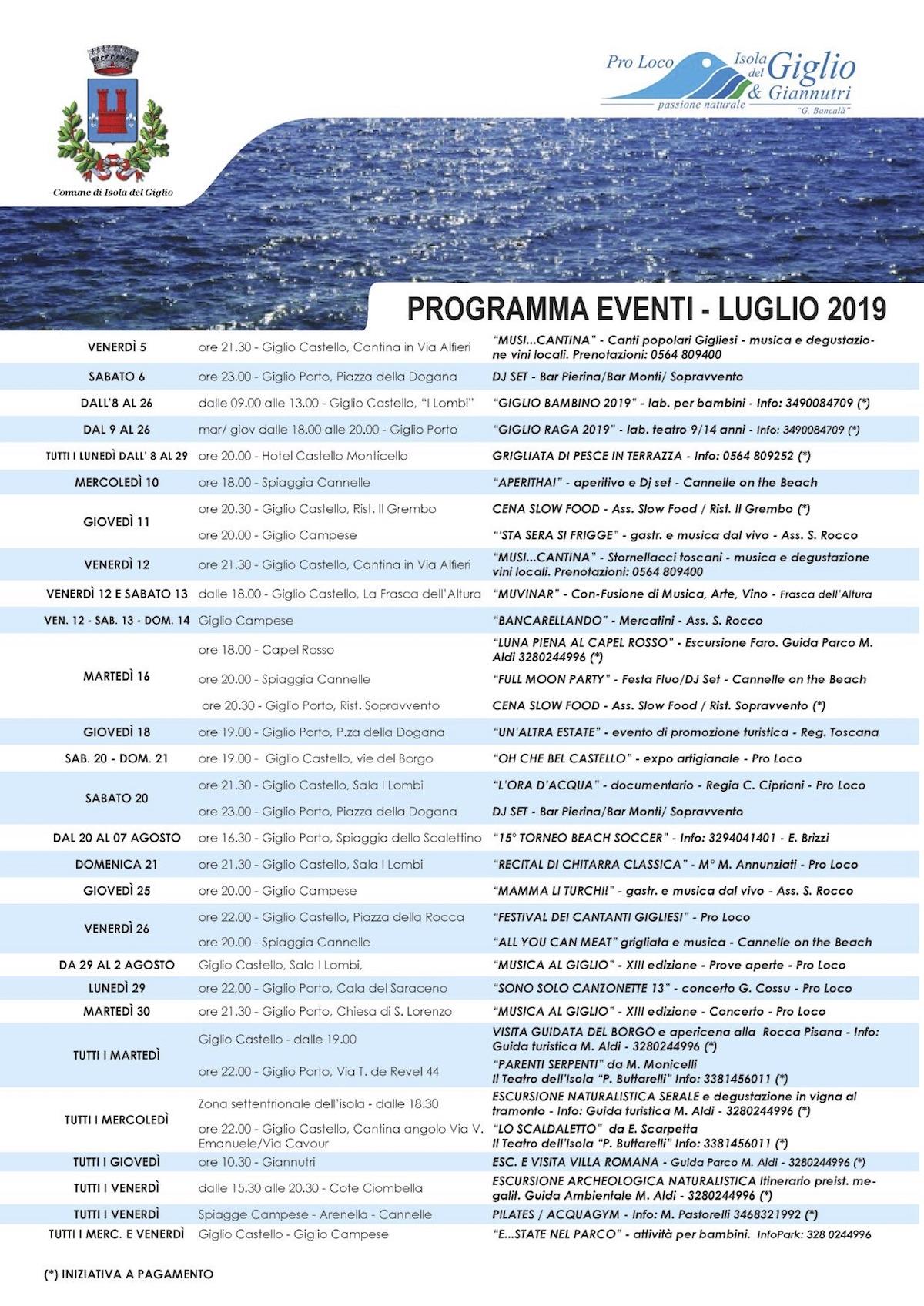 eventi luglio 2019 pro loco comune isola del giglio giglionews