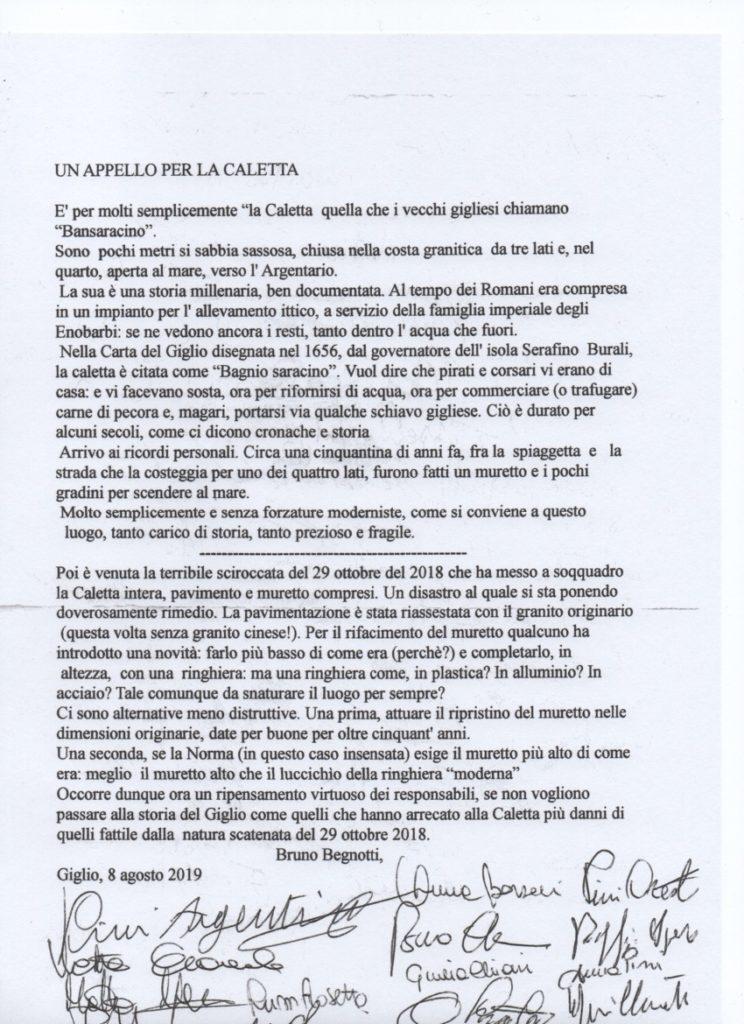 firme appello caletta saraceno isola del giglio giglionews