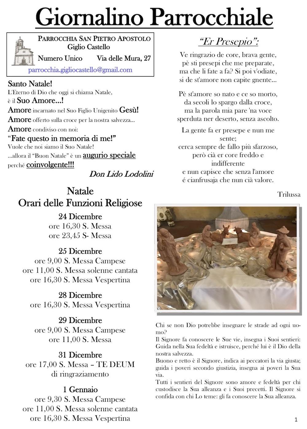 giornalino parrocchiale natale isola del giglio castello giglionews