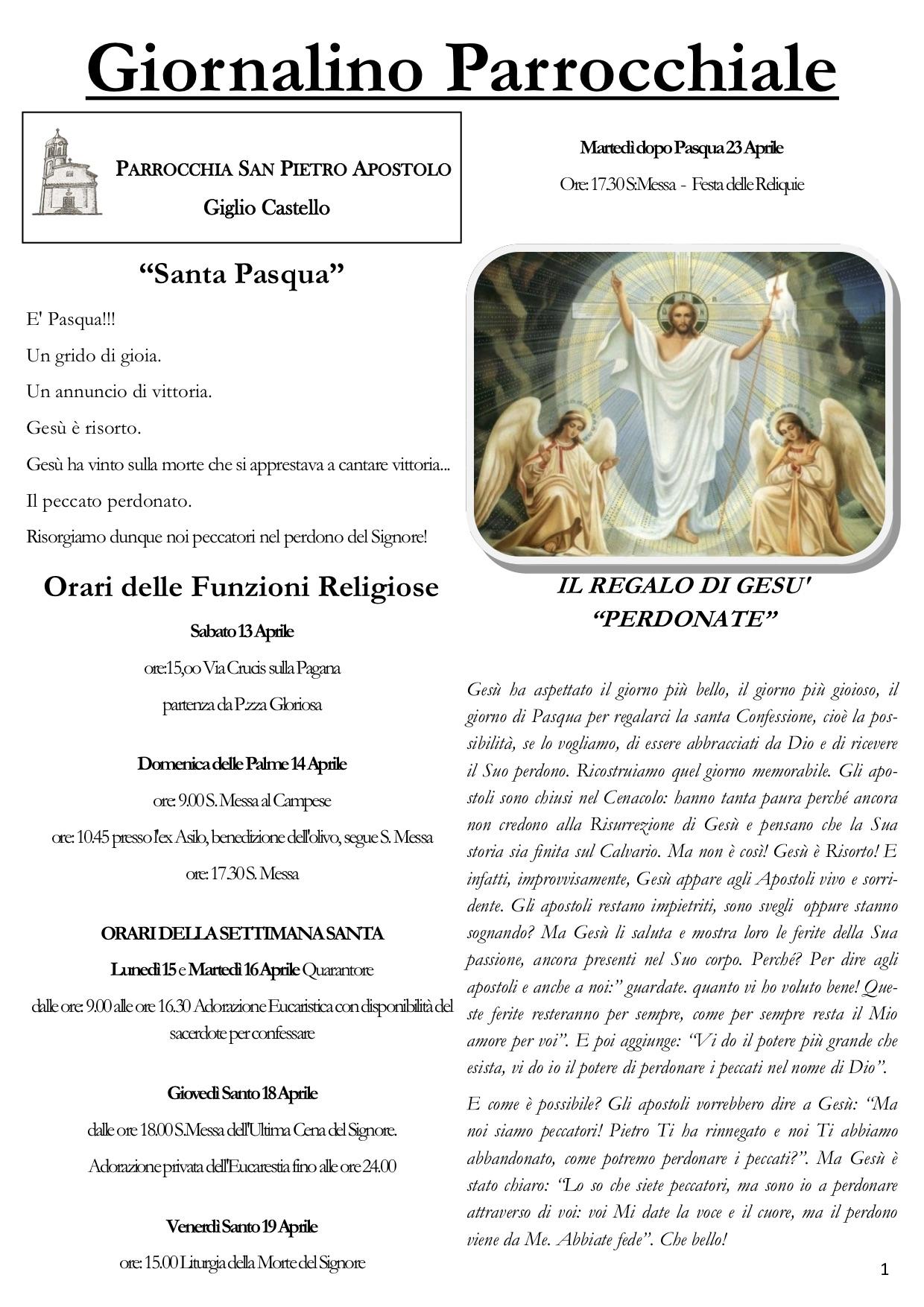 giornalino parrocchiale isola del giglio castello giglionews