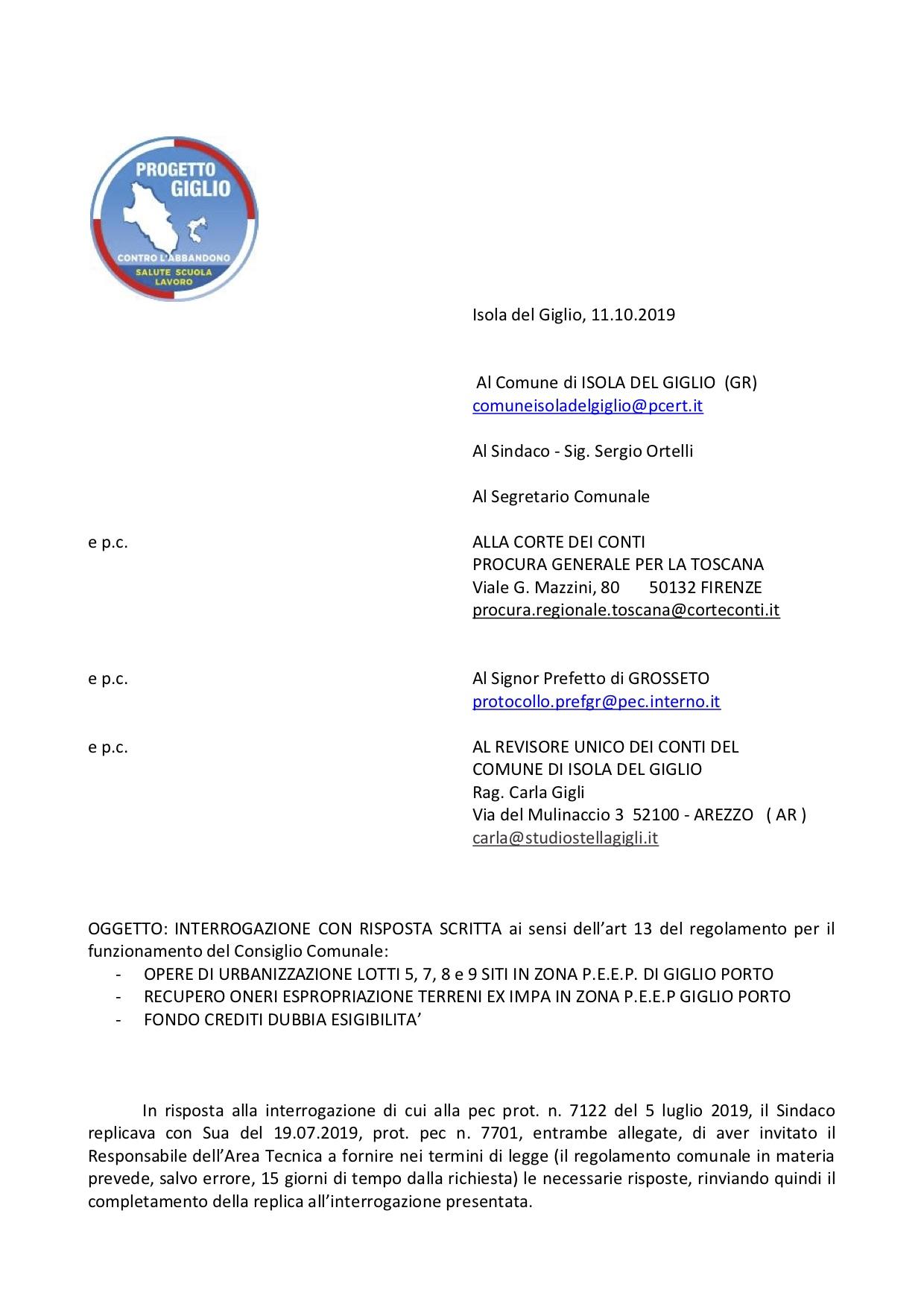 interrogazione bilanci minoranza progetto giglio isola del giglio giglionews