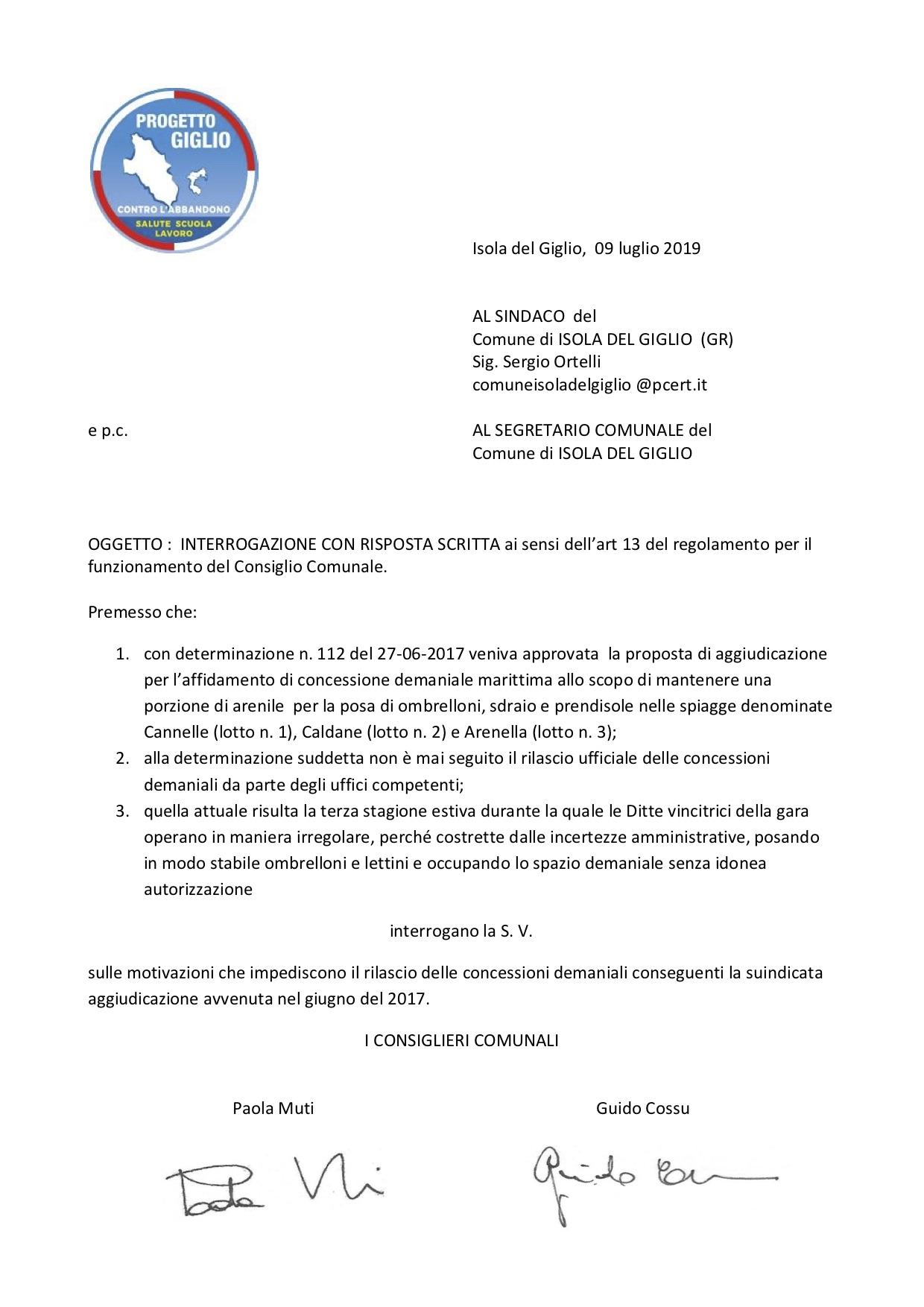interrogazione concessioni demaniali spiagge minoranza isola del giglio giglionews