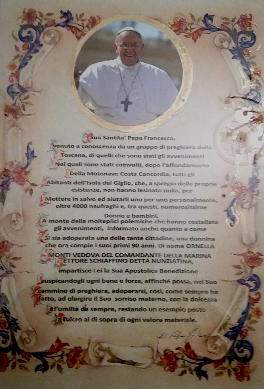 benedizione papa nunziatina isola del giglio giglionews