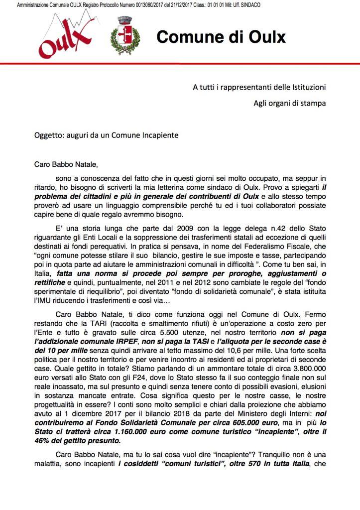 lettera sindaco incapiente babbo natale isola del giglio giglionews