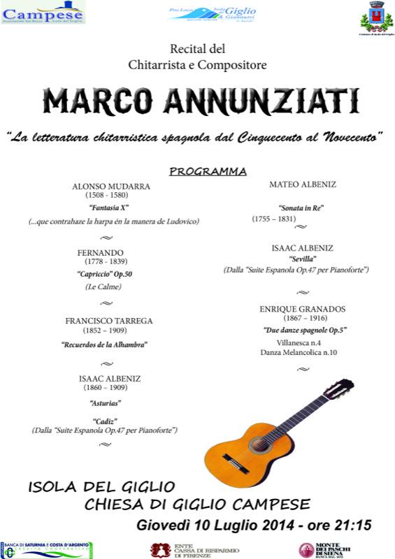 recital chitarra marco annunziati isola del giglio giglionews