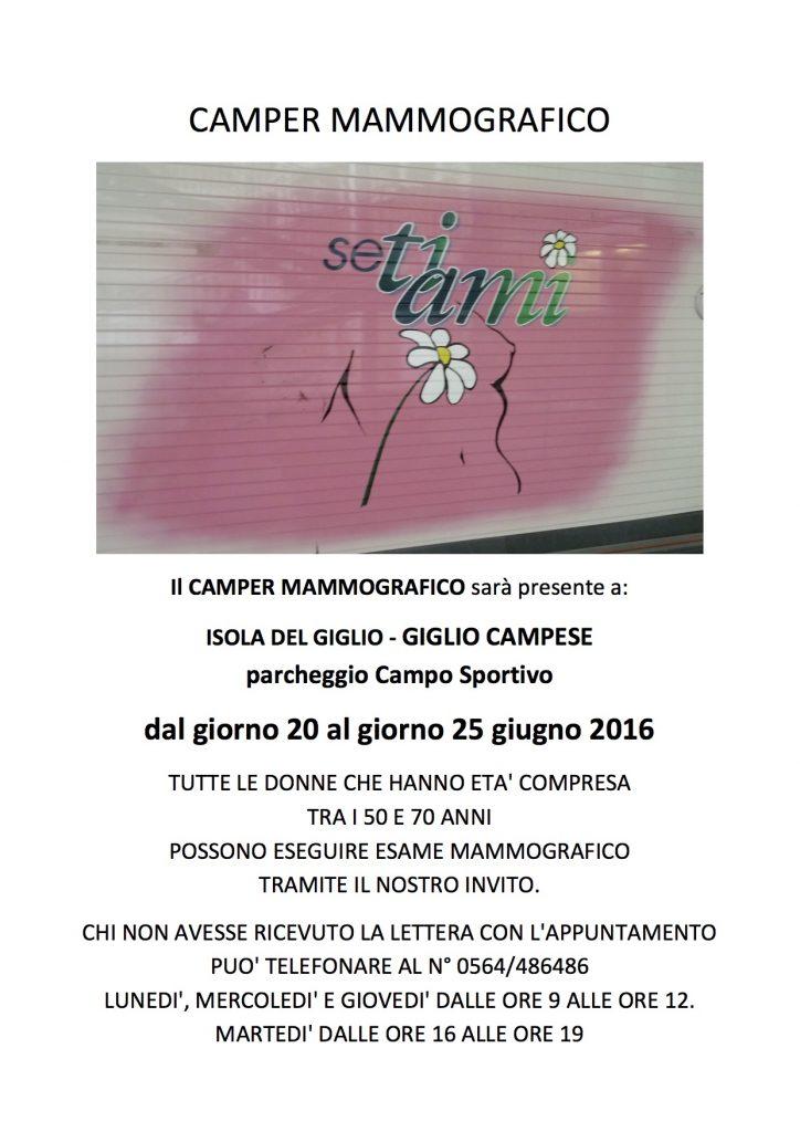 camper mammografico isola del giglio giglionews