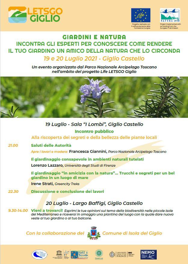locandina giardini life let's go isola del giglio giglionews