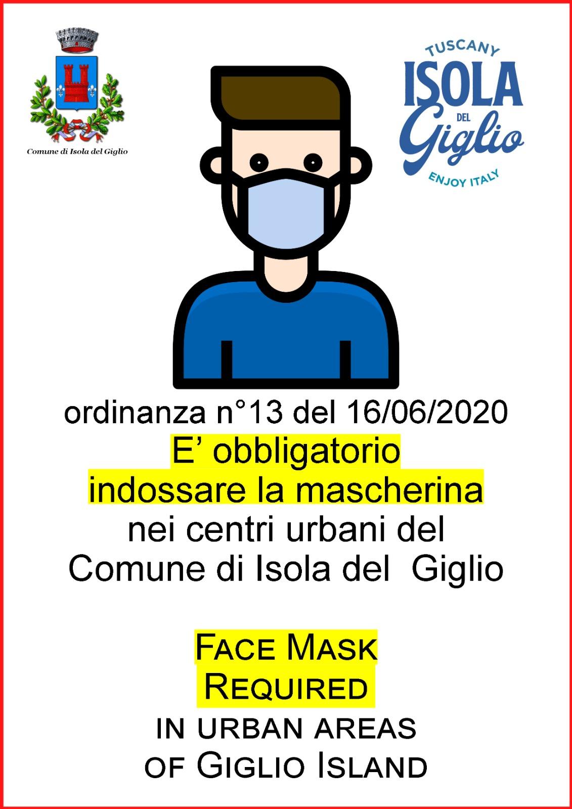locandina ordinanza mascherine comune isola del giglio giglionews