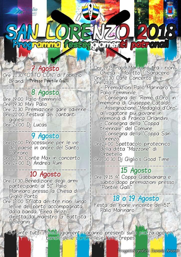san lorenzo palio programma festa comitato isola del giglio giglionews