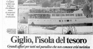 isola del tesoro articolo messaggero 1993 isola del giglio giglionews