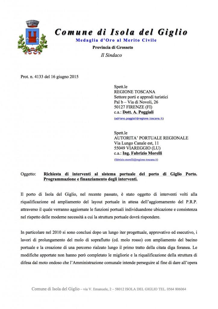 nota autorità portuale sindaco comune isola del giglio giglionews
