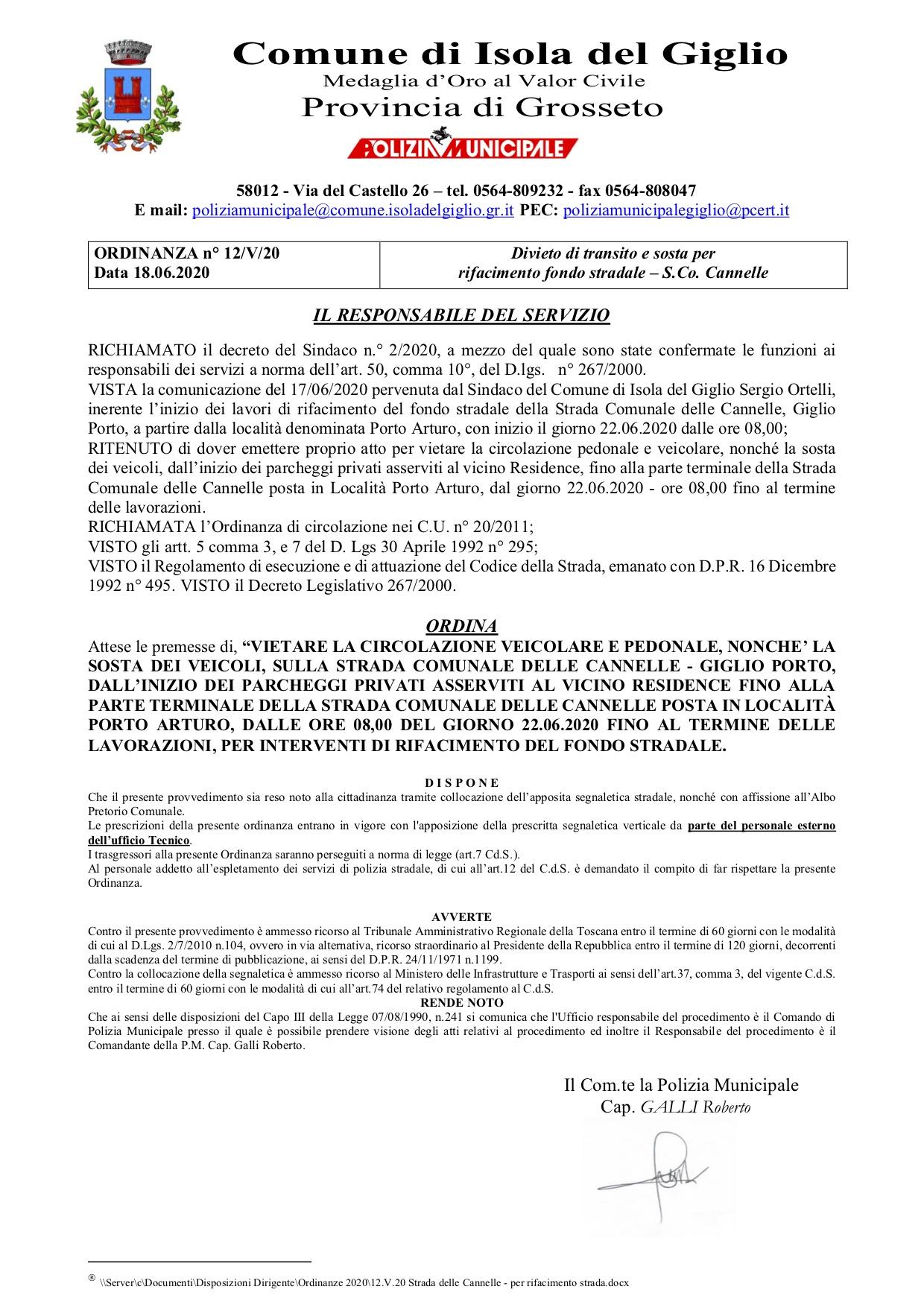 lavori strada cannelle polizia municipale comune isola del giglio giglionews