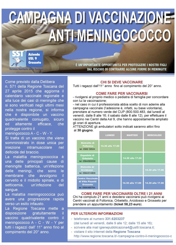 vaccinazione anti meningococco asl 9 regione toscana isola del giglio giglionews