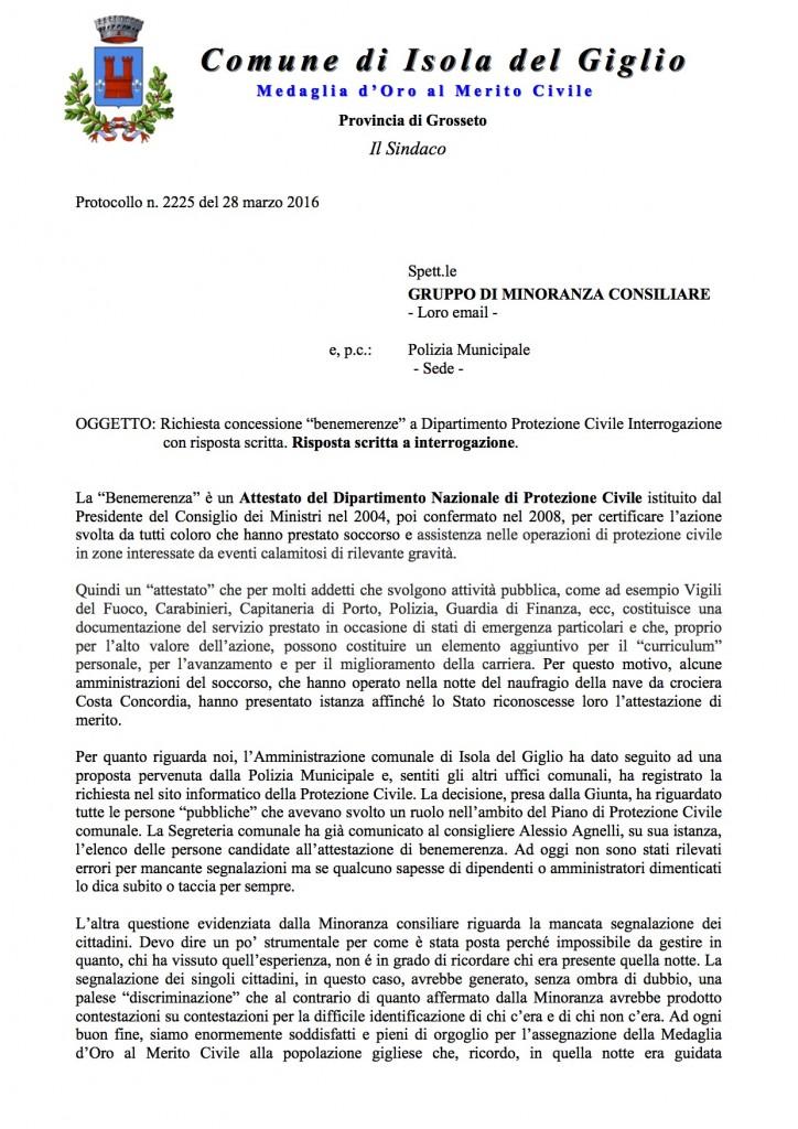 benemerenze risposta sindaco interrogazione isola del giglio giglionews