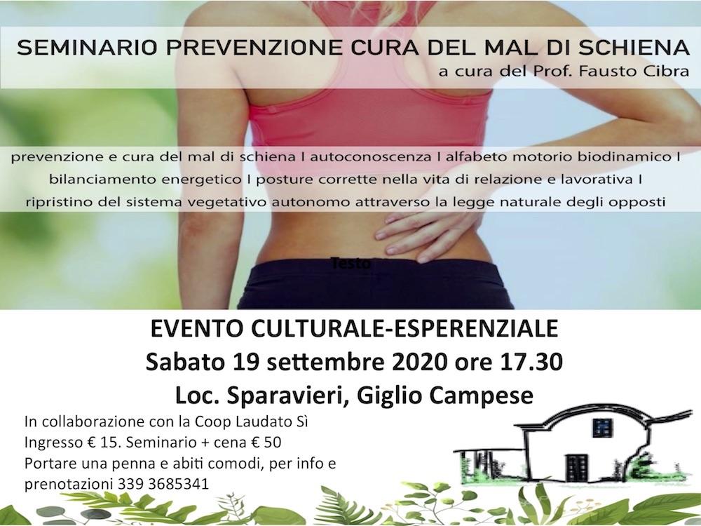seminario cura prevenzione mal di schiena isola del giglio giglionews