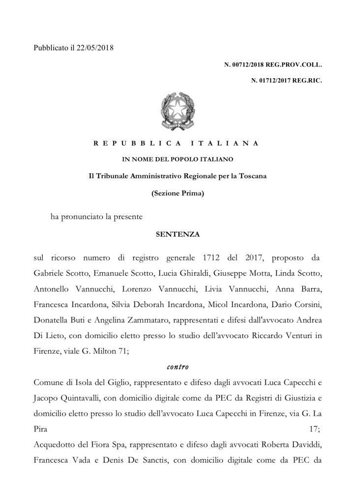 sentenza tar acqua giannutri comune isola del giglio giglionews