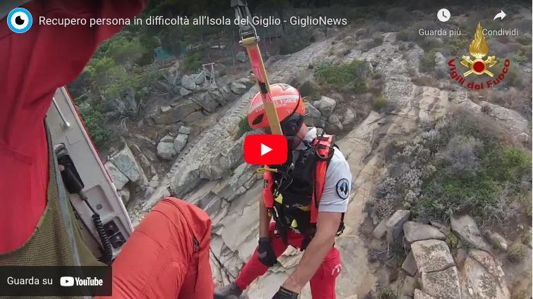video recupero escursionista vigili del fuoco isola del giglio giglionews
